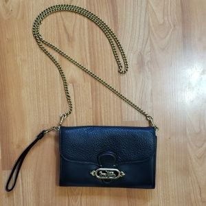 Coach Black Leather Crossbody/Wristlet EUC